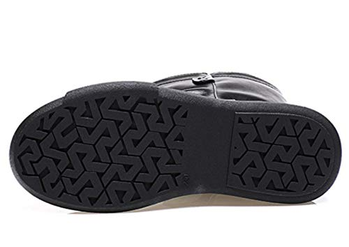 Wild Retro Waterproof Plush Style New Shiney Artificial Short Flat Boots Martin British Women's Platform Thick Black xUIqU6a0nv