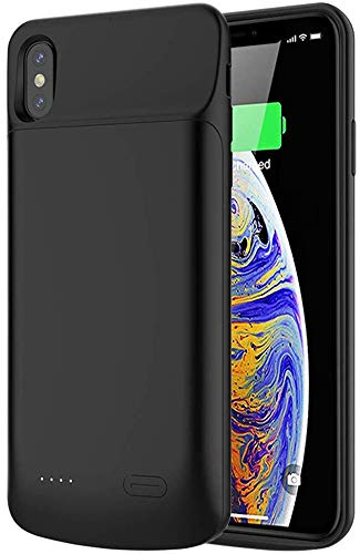 iPhone Xs Max Battery Case, BEAOK 6000mAh Portable Charger Case Protective Backup Charging Case Rechargeable Extended Battery Pack Cover for Apple iPhone Xs Max 6.5 Inch -Black