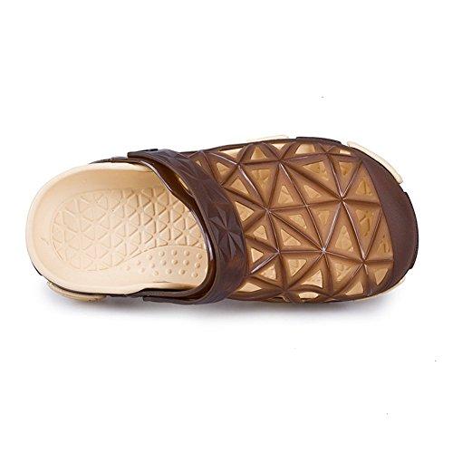 Capo Mostra Mens Casual Sandali Da Giardino Scarpe Da Spiaggia Punta Zoccolo Estate Pantofole Marrone-2