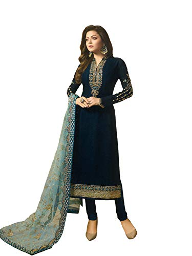 (Laxminarayan Georgette Satin Fabric Heavy Embroidered Designer Churidar Salwar Suit with Net & Faux Georgette Fabric Dupatta (X-Small, Navy)