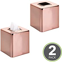 mDesign Square Facial Tissue Box Cover Holder for Bathroom Vanity Counter Tops, Bedroom Dressers, Night Stands, Desks and Tables - Pack of 2, Rose Gold