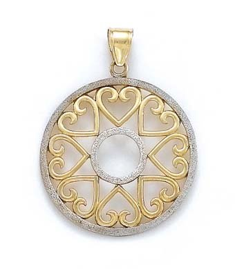14 carats-Bicolore-Pendentif Médaillon Cercle JewelryWeb de cœurs
