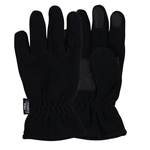 Men's Fleece Lightweight Cold Weather Gloves (Black, Medium) (Black Cold Weather Gloves)