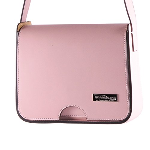 100 Leather in Genuine BORDERLINE Made IRENE Italy Pink Clutch bag RwnBH