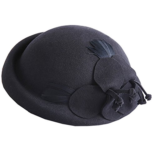 Tweed Cloche - TTjII Men's Women Classic Herringbone Tweed Wool Blend newsboy Hat Bucket Bell Shaped Cap 1920s Vintage Wool Felt Cloche Bucket Bowler Winter (Black)