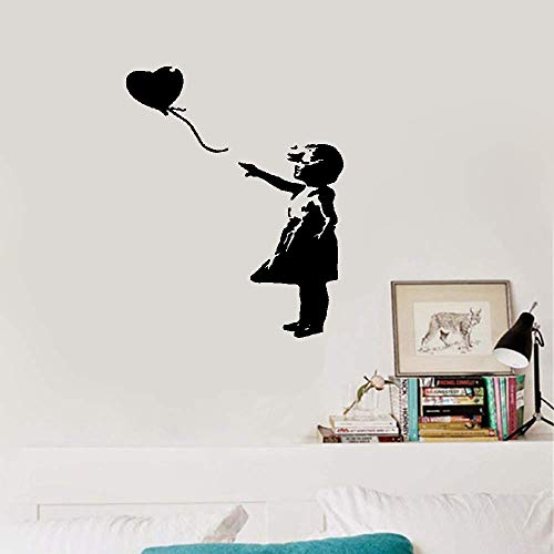 Wall Sticker Removable Home Decor Wall Vinyl Decals Little Girl with A Balloon
