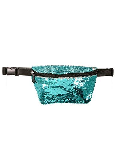 FYDELITY- LUX Ultra-Slim Line Fanny Pack Belt Bags: FLAPPER MAGIC SEQUIN Teal