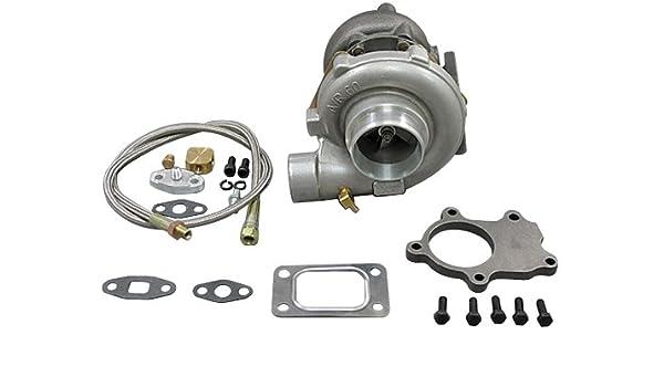 T3 T4 t3t4 t04e .60 AR Turbo Cargador + línea de aceites + DP Brida: Amazon.es: Coche y moto