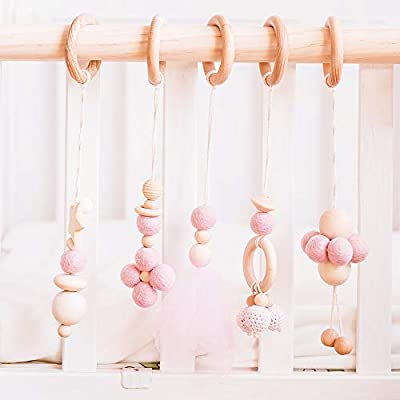 Let's Make Baby Play Gym Toys Set of 5-- Hanging Wooden Toys  Organic Nursing Environmental Sense Sensory Toys  Modern Baby Toys: Toys & Games
