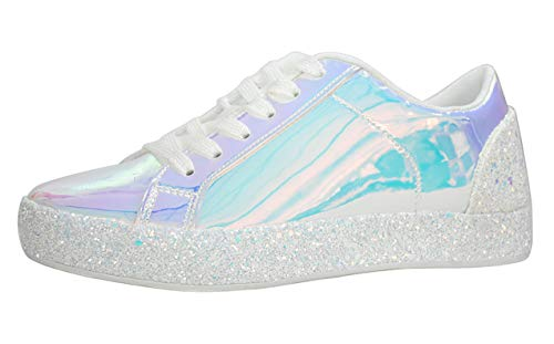 Lucky Step Glitter Sneakers Lace up   Fashion Sneakers   Sparkly Shoes for Women (7 B(M) US,White-1)