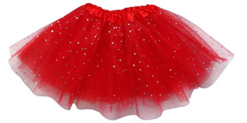 Adult, Plus, or Kids Size Valentine's Day Sequin Love Heart Tutu Costume Skirt (L (Adult Size), Red)]()