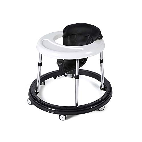 KOIUJ Baby Walkers for Boys Girls with Large Tray 6 Universal Wheels, Anti Rollover Folding Toddler Walker for Baby Boy&Girl 6-18Months (Black)