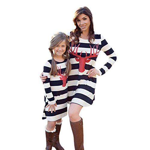 Kehen Parent-Child Dress, Elk Striped Long Sleeve Dress Mommy And Me Xmas Family Clothes (6T, White & (Mommy And Me Matching Pajamas)
