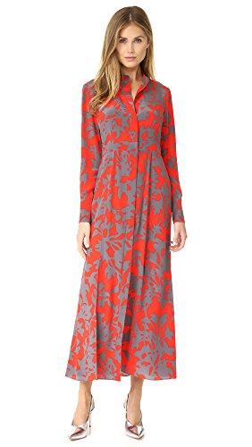 Diane von Furstenberg Women's Maxi Length Shirtdress, Brulon Bright Red, - Von Dress Furstenberg Red Diane