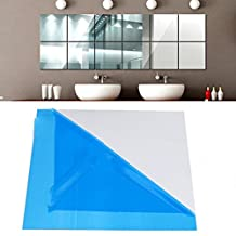 Bomdes 16X Mirror Tile Wall Sticker Square Self Adhesive Room Decor Stick On Modern Art Wall Stickers