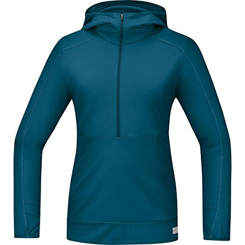 Gore Running Wear Damen Warmes Langarm Kapuzen-Laufshirt, GORE Selected Fabrics, AIR LADY Hooded Shirt long, SHLAIR Ink Blue