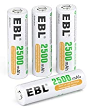 EBL AA Rechargeable Batteries (2500 mAh), Ni-MH 1.2V Pre-charged AA Battery (Pack of 4), Battery Case Included