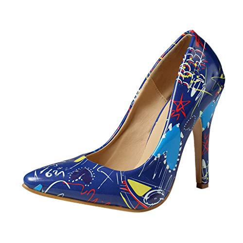 Cenglings Women's Pointed Toe Shallow Shoes Wild Ladies Stiletto Heel Print Pumps Sexy Single Shoes Blue
