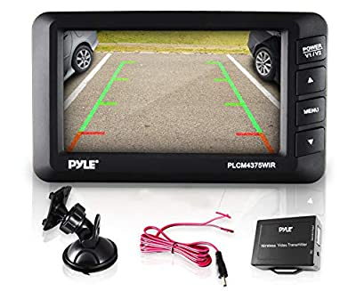 "Wireless Rear View Backup Camera - Car Parking Rearview Monitor System Reverse Safety w/Distance Scale Lines, Waterproof, Night Vision, 4.3"" LCD Screen, Video Color Display Vehicles - Pyle"