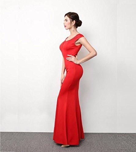 Sexy de Vestido WBXAZL la Hombro Longitud de Show de Delgada Largo Noche el Vestido Vestido Nuevo Vestido Noche Honor Noche de Rojo Dama TTqrHX