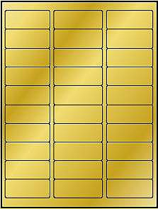 600 Label Outfitters® Metallic Gold Foil LASER ONLY Address Labels, 20 Sheets use Avery® 5160 Template