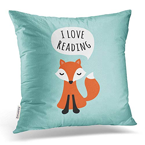 - Emvency Square 18x18 Inches Decorative Pillowcases fox i love reading cute cartoon fox on blue background Cotton Polyester Decor Throw Pillow Cover With Hidden Zipper For Bedroom Sofa