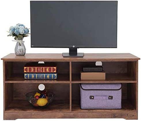 usikey TV Stand for TVs up to 48 , TV Console Table with 4 Open Storage Shelves, Entertainment Center, TV Cabinet for Living Room, Entertainment Room, Easy Assembly, Rustic Brown