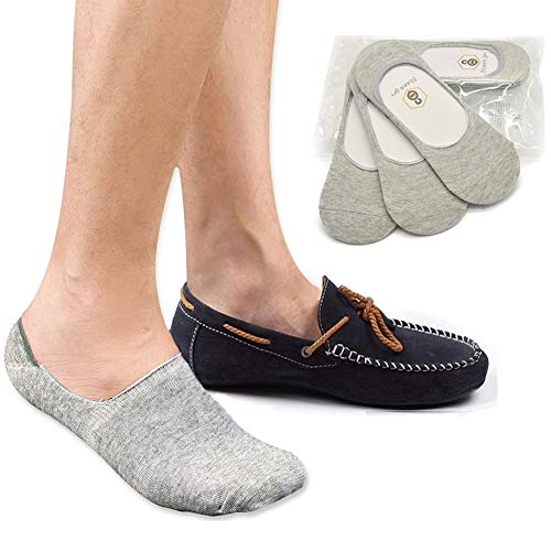 Men No Show Socks Non Slip Grip 8BESS GIFT Loafer Boat Shoes Low Cut Socks (US:10.5-12.5, Grey-3 Pairs)