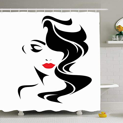Ahawoso Shower Curtain for Bathroom 72x78 Design Red Salon Women Human Long Hair Beauty People Makeup Lady Face Girl Abstract Black Glamour Waterproof Polyester Fabric Bath Decor Set with Hooks (Glamour Shower Curtain Set)