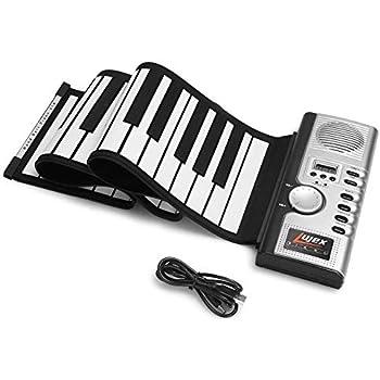 Lujex Foldable 61 Keys Flexible Soft Electric Digital Roll Up Keyboard Piano, Silver