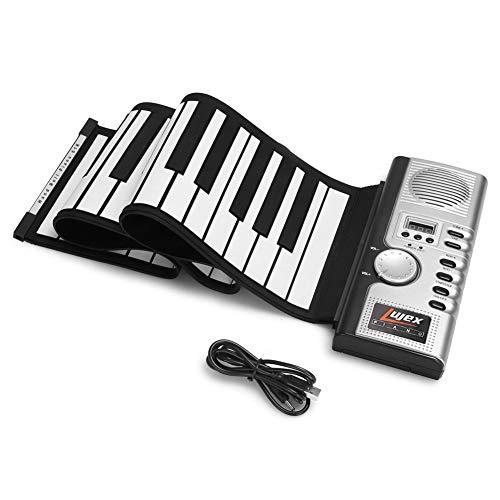 Lujex Foldable 61 Keys Flexible Soft Electric Digital Roll Up Keyboard Piano, Silver