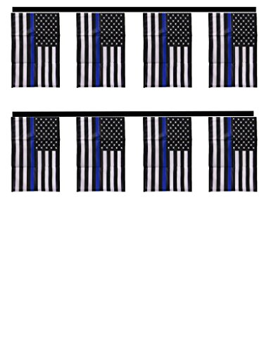 USA Police Blue Line Lives Matter 12x18 Bunting String Flag Banner (8 Flags) House Banner Double Stitched Fade Resistant Premium Quality