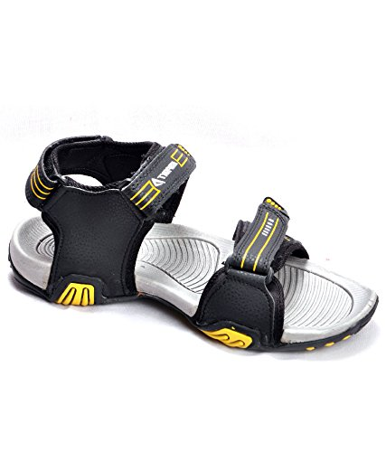 ef1ce8d61 Impakto Men s Black   Yellow Synthetic Leather Sandal  Buy Online at ...