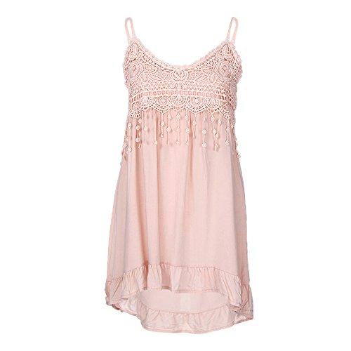 Cami Lace Ruffle - iQKA Women Plus Size Lace Spaghetti Strap Cotton Ruffle Tank Tops Solid Camis Vest (Pink,Small)