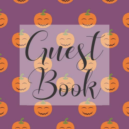 Guest Book: Purple Pumpkin Halloween - Signing Guestbook Gift Log Photo Space Book for Birthday Party Celebration Anniversary Baby Bridal Shower ... Keepsake to Write Special Memories In -