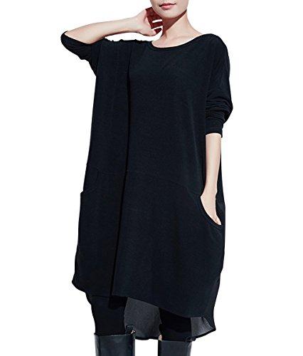 A ELLAZHU Style WO52 Lgre Longue Low Hi Chemise Longue Noir Femme Lache Manche Wo52 px1FCA