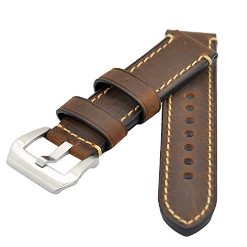Dark Brown 24mm Genuine Leather Wristwatch Watch Band Oil Tan Vintage Strap for Men with Stainless Buckle
