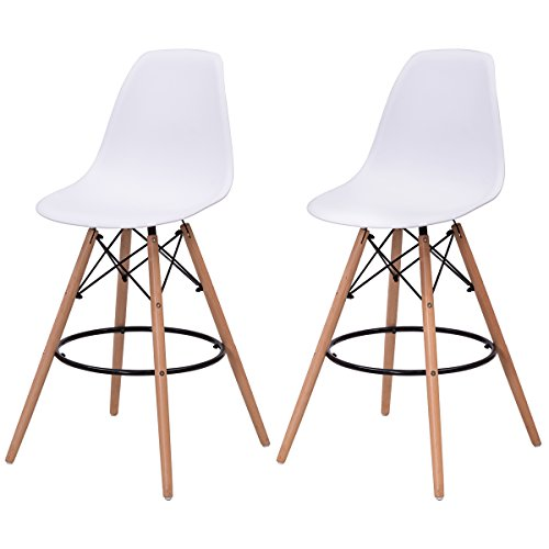 Giantex High Back Modern Dining Chairs w/Natural Wood Legs, Eiffel DSW Armless Accent Leisure Chair, Set of 2 (White)