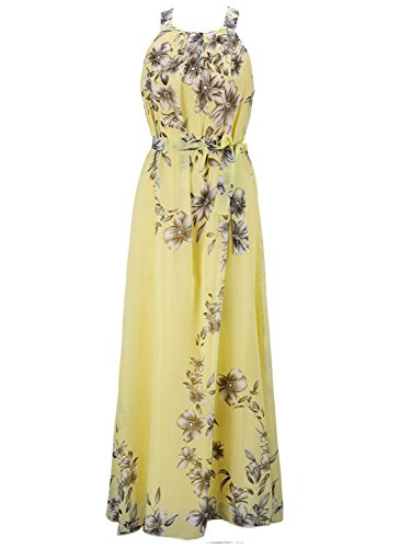 - PERSUN Halter Neck Floral Print Maxi Dress, Yellow, XLarge