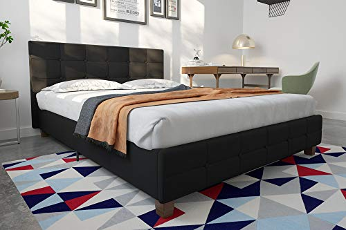 DHP Rose Linen Tufted Upholstered Platform Bed, Button Tufted Headboard and Footboard with Wooden Slats, Queen Size - Black ()