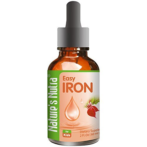 (Nature's Nutra Easy Iron, 2 Fl. Oz (60ml), Premium Baby and Infant Liquid Drops, Toddlers Kids Children Multivitamin Supplement, Ferrochel, Anemia, Hemoglobin)