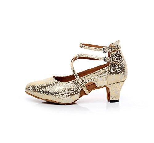 De Mujer Samba UK2 5 5cm heeled5 Moderno Gold Chacha De De Zapatos Jazz Baile JSHOE Zapatos De Our33 Latino Baile Cuero EU32 xIg58wUq