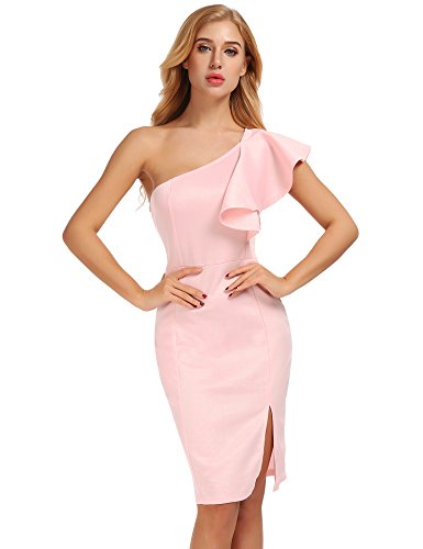 FISOUL Women's One Shoulder Split Gown Ruffle Evening Party Midi Cocktail Bodycon Dress Pink L by FISOUL