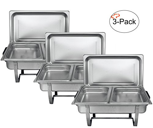 8 Quart Chafer (Tiger Chef 8 Quart Full Size Stainless Steel Chafer 2 Half Size Chafing Food Pans and Cool-Touch Plastic on top (3, Full Size with 1/2 Size Inserts))
