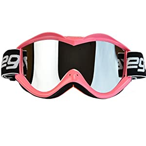 Vega Helmets Dirt Bike Goggles with Optically Correct Lens – Scratch Resistant Motocross Goggles for MX Off Road ATV Quad Enduro Moto Sports Riding Gear (Mirrored Lens Pink, One Size)