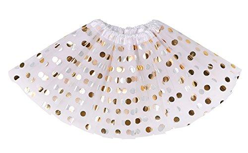 Simplicity Girls Tutu Tulle Polka Dot Dress-up Princess Fairy Tutu Skirt,White ()