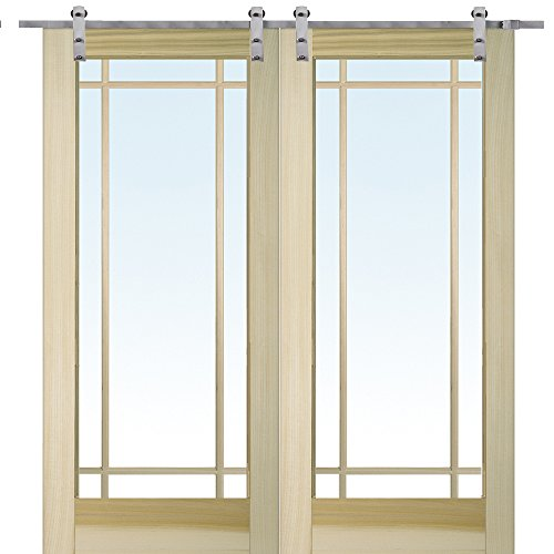 National Door Company Z009649 Unfinished Poplar Wood 9 Lite True Divided Clear Glass, 72'' x 80'', Barn Door Unit by National Door Company
