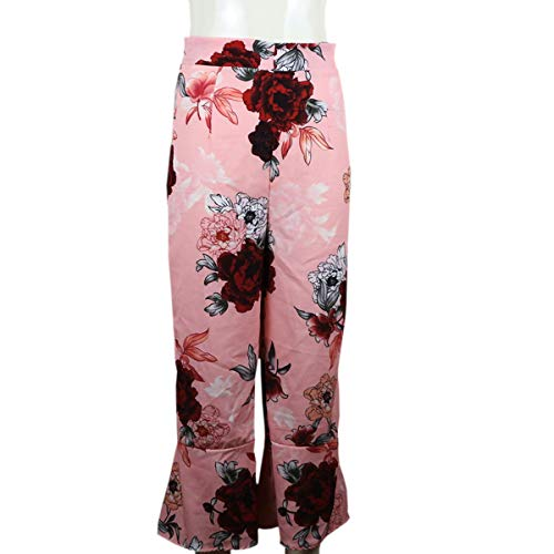 allentati alta di selvaggia della del Pink vita lunghi donne allentati Pantaloni della gamba stampa delle fiore 58ppqw