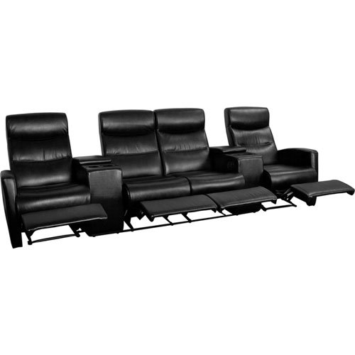 Parkside Anetos Series 4-Seat Reclining Black Leather Theater Seating Unit with Cup Holders