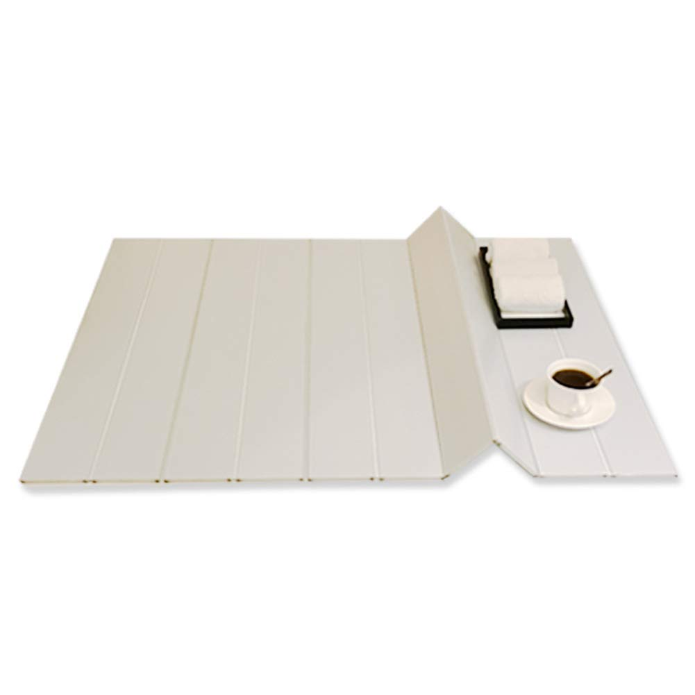 Wayer Folding Bathtub Trays, Dustproof Bracket Bath Cover Reading Tablet Holder Cellphone Storage Bath Tray for Bathroom Insulation Cover-WhiteB 148x80x0.6cm(58x31x0inch)